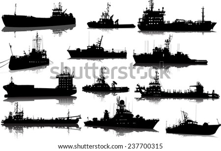 Vector set of 12 (twelve) silhouettes of sea towboat and the ships - stock vector