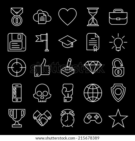 Vector set of twenty five white on black new trends in business icons | Gamification strategy in business icons set | Social media marketing and business innovation flat design line icons collection - stock vector