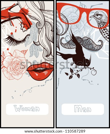 vector set of two abstract cards with man and woman - stock vector
