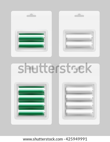 Vector Set of Two and Four White Silver Green Glossy Alkaline AA Batteries in White Blister Packed for branding Close up Isolated on Background - stock vector