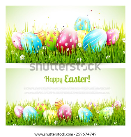 Vector set of two Easter banners with colorful eggs in the grass - stock vector