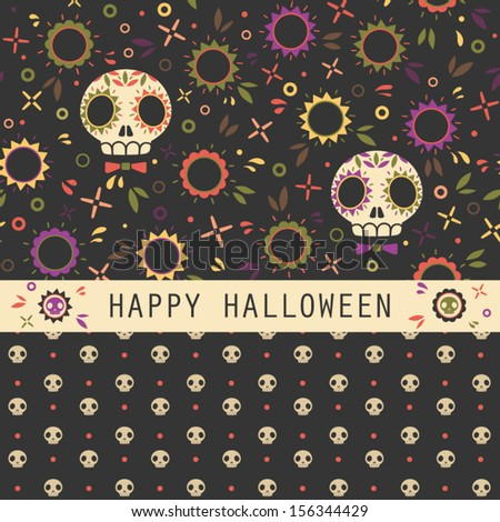 Vector set of two halloween seamless patterns. Cartoon sculls and flowers. Halloween elements for scrap-booking. Hand drawn vector illustration.  - stock vector