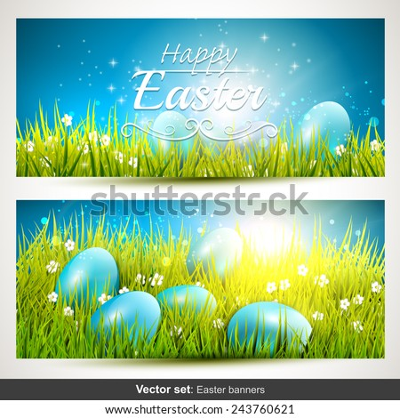 Vector set of two horizontal Easter banners with eggs in the grass - stock vector