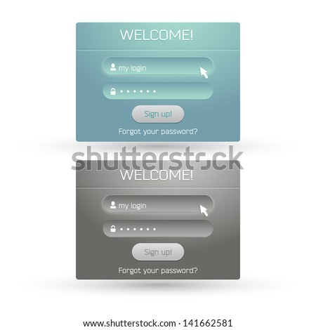Vector set of two log-in forms with ui elements - stock vector