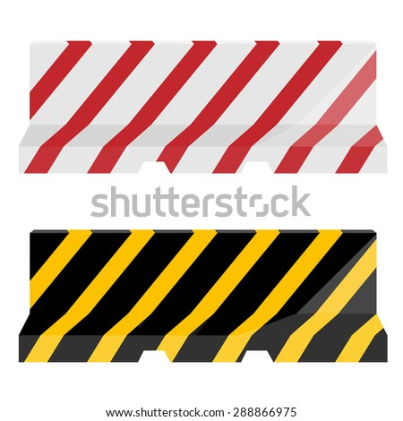 Vector set of two striped road barrier red, white and yellow, black. Traffic barrier. Road block - stock vector