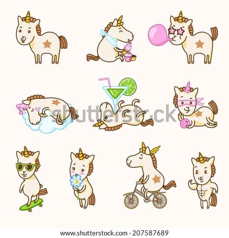 Vector set of unicorn stickers - stock vector