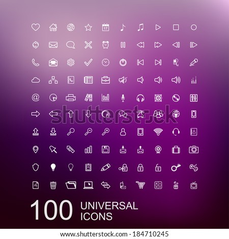 Vector Set of 100 Universal Outline Icons for Web and User Interface Design - stock vector