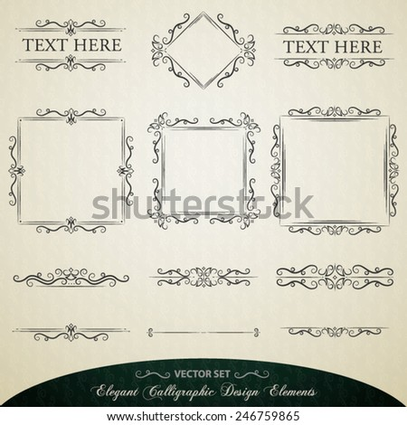 Vector set of useful calligraphic design elements and layout decorations to enhance your artwork - stock vector