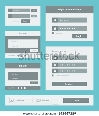 Vector set of user interface login and account registration form design. Isolated on blue background. - stock vector