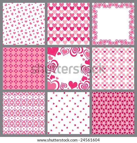 Vector set of Valentine heart patterns - stock vector
