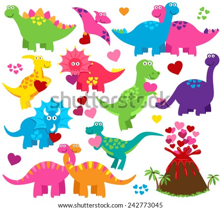 Vector Set of Valentine's Day or Love Themed Dinosaurs - stock vector