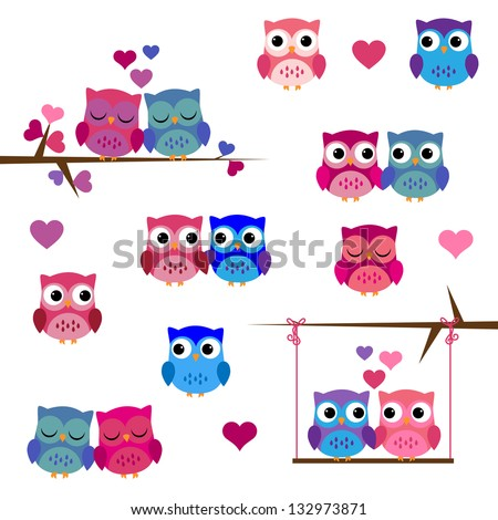Vector Set of Valentine's Day or Love Themed Owls - stock vector