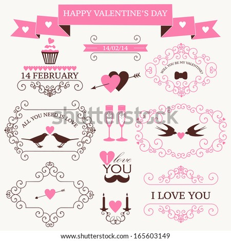 Vector set of valentine's day vintage design elements and icons - stock vector