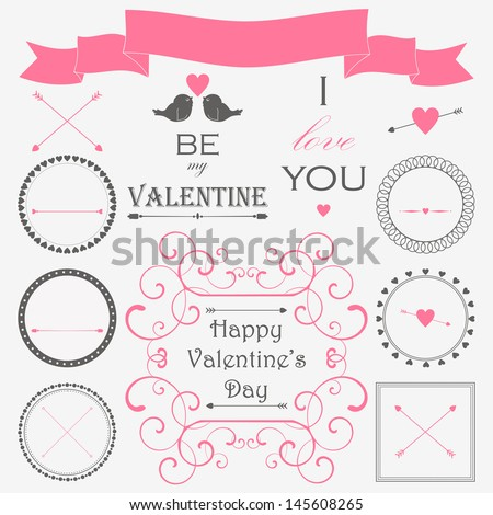 Vector set of valentine's day vintage design elements in retro colors. - stock vector