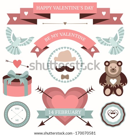 Vector set of valentines day illustrations and icons in retro colors. - stock vector