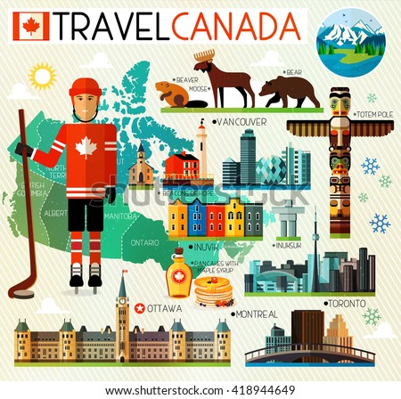 Vector Set of Various Canada Icons - stock vector