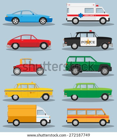 Vector set of various city urban traffic vehicles icons - stock vector