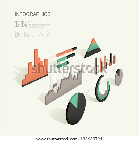 Vector set of various 3d inforgraphic charts - stock vector