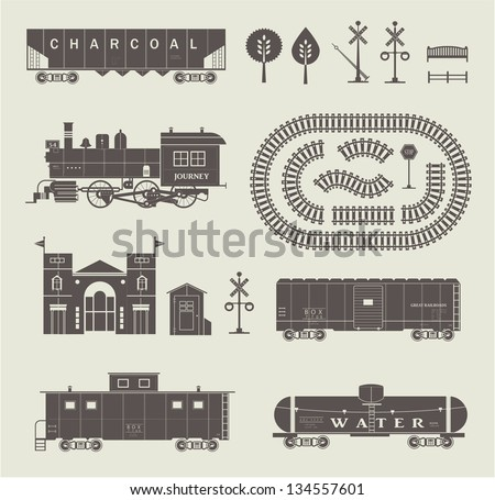 Vector set of various elements of railroad (trains) - stock vector