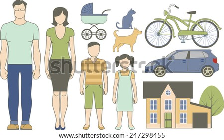 Vector set of various family infographics objects - stock vector