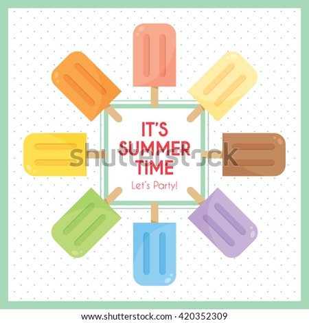 Vector set of various flavor popsicles with frame and polka dot as background. Rainbow colour popsicles. - stock vector