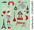 Vector set of various icons about france - stock vector