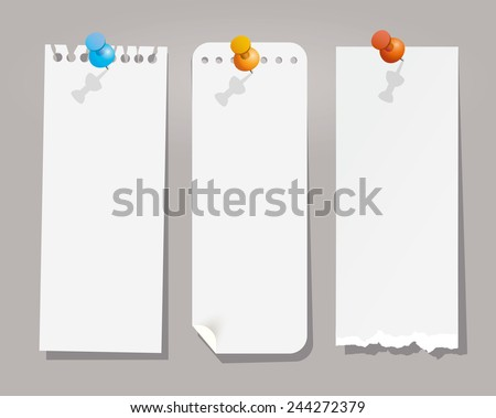 Vector set of various note papers with push pins. - stock vector