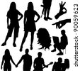 vector set of various silhouettes of people on white background - stock photo