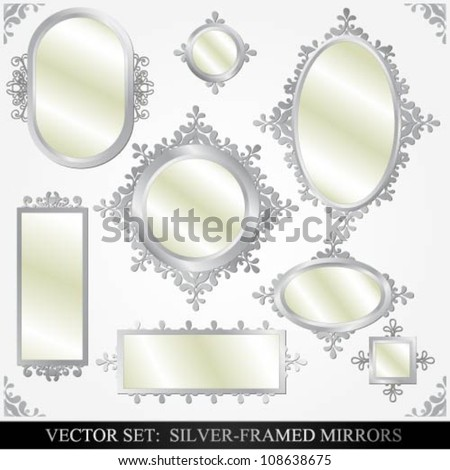 Vector set of various silver framed mirrors - stock vector