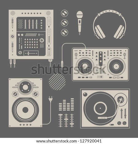 Vector set of various stylized dj icons - stock vector