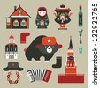 Vector set of various stylized russian icons - stock photo