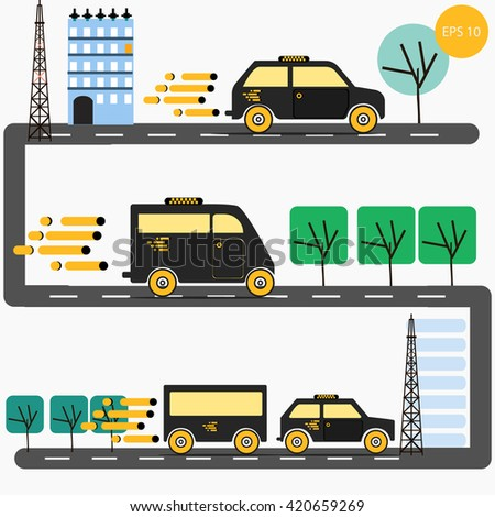 Vector set of various urban and city cars taxi, gray cab, flatbed truck, cargo van. Different types of taxis. Taxi trailer. The road through the city. City taxi. Infographic traffic on the road. - stock vector