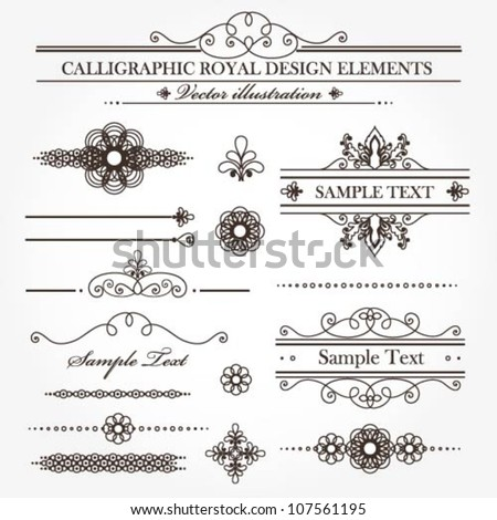 Vector set of various useful calligraphic design elements - stock vector