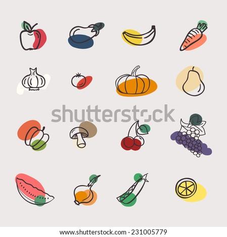 Vector set of vegetables: apple, aubergine, banana, carrot, garlic, tomato, pumpkin, pear, pepper, mushroom, cherry, grape, watermelon, onions, peas, lemon. Tasty vegetarian draw concept collection - stock vector