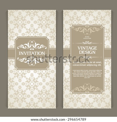 Vector set of vertical banners with ornamental  frame and seamless patterned background. Wedding invitation design, Greeting Card, packaging template in vintage style - stock vector