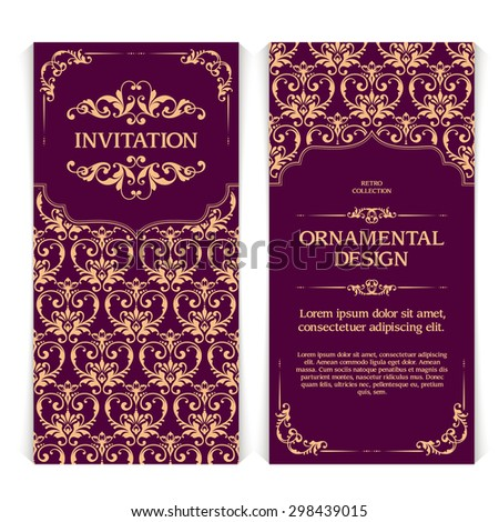 Vector set of vertical banners with ornamental frame and seamless patterned background. Wedding invitation design, Greeting Card Template in Eastern style with gold pattern - stock vector