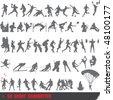 Vector set of 50 very detailed extreme sport silhouettes - stock vector