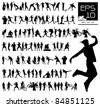 Vector set of 100 very detailed men silhouettes - stock photo