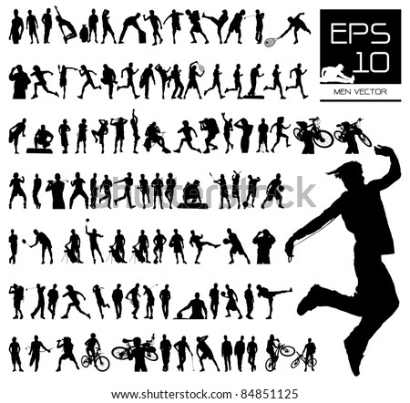 Vector set of 100 very detailed men silhouettes - stock vector
