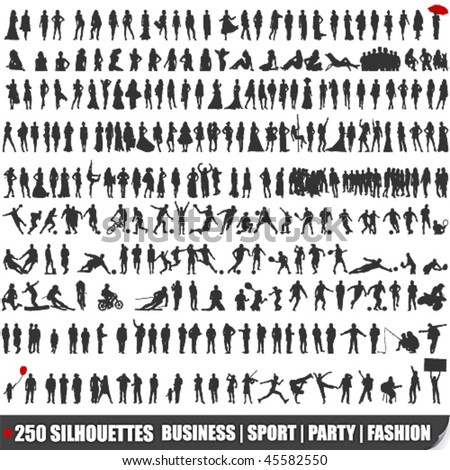 Vector set of 250 very detailed silhouettes - stock vector