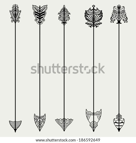 Ancient Arrow Drawing Vector Set of Vintage Arrows