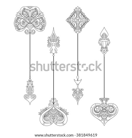 Vector Set of Vintage Arrows. Suit (Playing Card). Isolated Objects On White Background