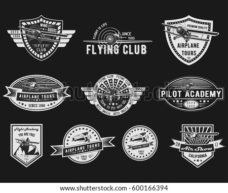 Vector Set Vintage Aviation Logo Templates Stock Vector 600166394 ...