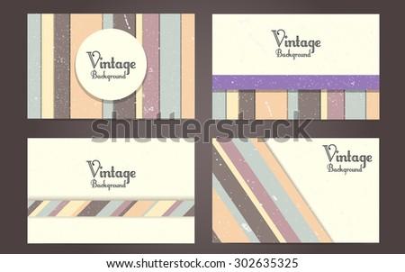 Vector set of vintage backgrounds - stock vector