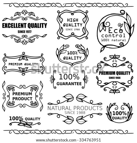 Vector set of vintage badges and monogram for packaging design.