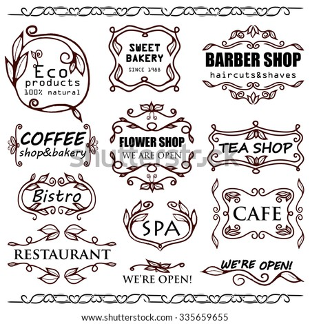 Vector set of vintage badges and monogram for shops signage