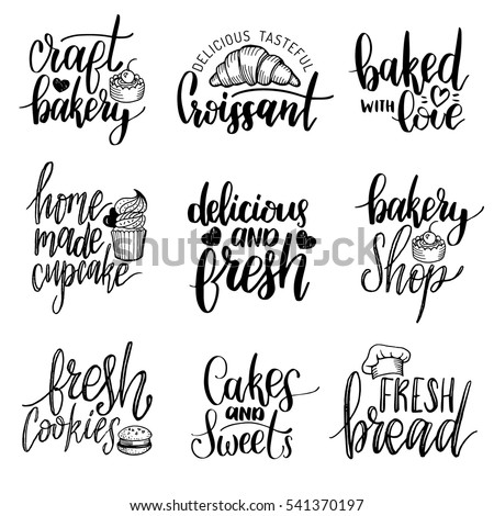 Vector Set Vintage Bakery Hand Lettering Stock Vector