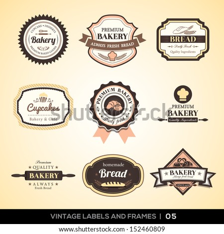 Vector set of Vintage bakery logo labels and frames design - stock vector