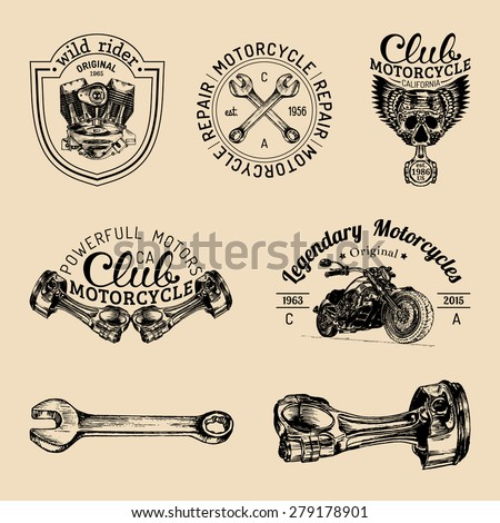 Vector set of vintage bikers logo. Retro hand sketched logotypes collection with chopper bike elements - stock vector