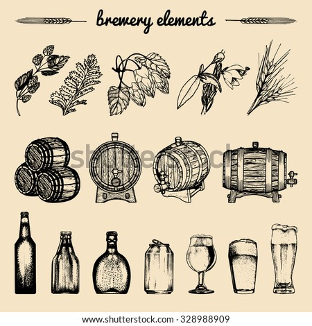 Vector set of vintage brewery elements. Retro collection with beer icons. Brewing signs. Lager, ale hand drawn symbols. Barrel, bottle, glass, mug, plants sketches. Brew background.  - stock vector